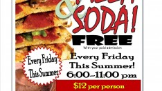Free Pizza and Drinks every Friday Night
