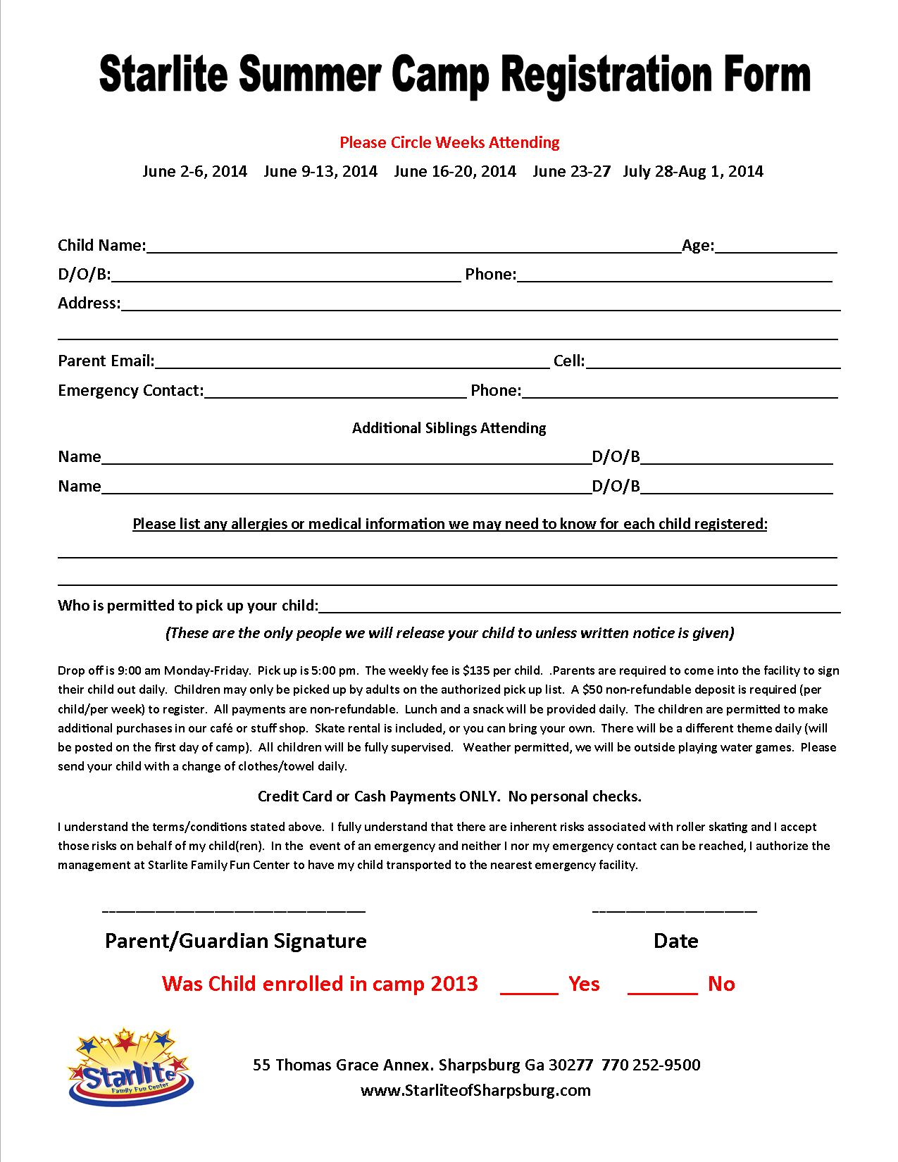 summer camp registration form template Success